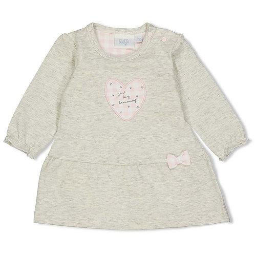 Feetje Kleid  grau mit rosa Herz