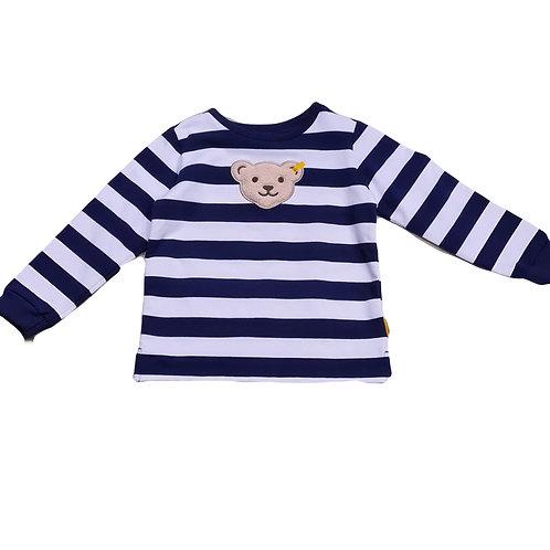 Steiff Sweatshirt streifen blau Quitscher-Bär