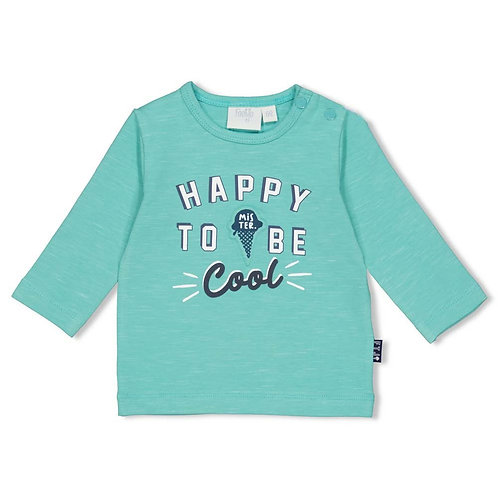 "Feetje Longshirt ""Happy to be cool"" blau weiß mint"