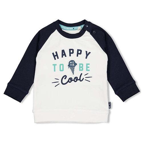 """Feetje Sweatshirt """"Happy to be cool"""" blau weiß mint"""