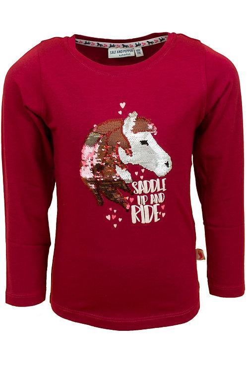Salt and Pepper Langarm Shirt Pferde Wendepailetten