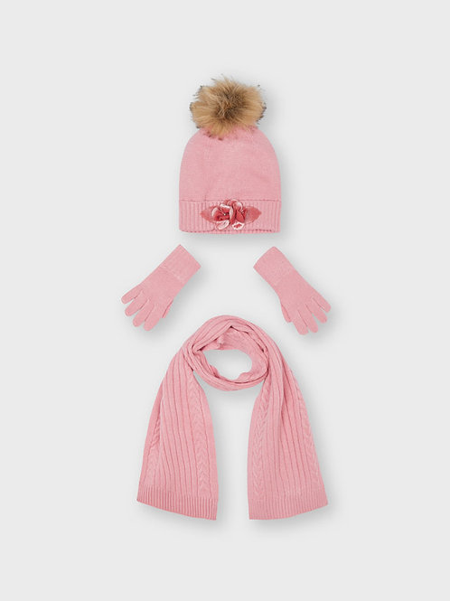 Maryoral Mützen, Schal, Handschuh Set rosa o. blau
