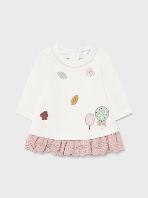Mayoral Kleid rosa, weiß Herbst Blätter