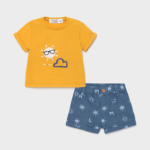 Mayoral Set T-Shirt gelb + Hose kurz Denim
