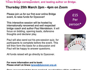 Join me for this entertaining online bridge event in support of this excellent and worthy charity