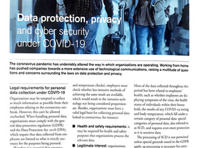 Data protection, privacy and cyber security under COVID-19