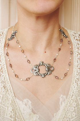 Vintage Rosary-Style Cameo Necklace
