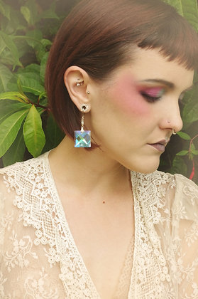 Iridescent Fairy faceted square Crystal Earrings