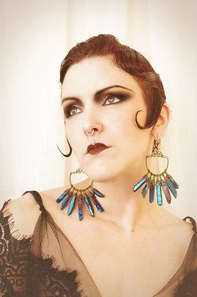 Cobalt Mermaid Aura Crystal Gilt Hoop Earrings