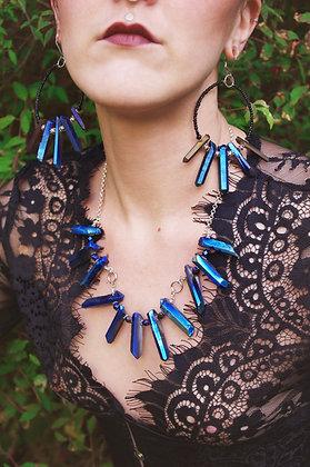 Cobalt Mermaid Aura Crystal Necklace Set