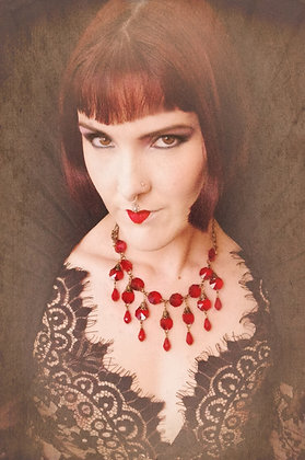 The Bloody Bride ~ Red Crystal Tear Droplet Necklace