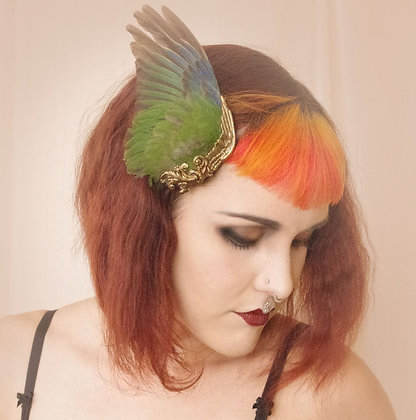 Colorful Emerald Green Bird Wing Hair Fascinator