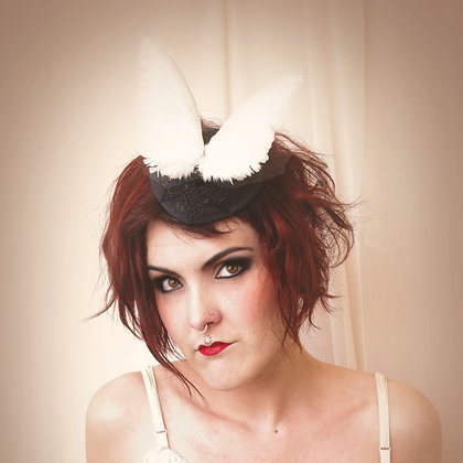 Dark Bride Bird Wing Pillbox Hat