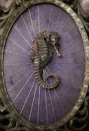 Strength / Lust tarot series major arcana seahorse and textile art