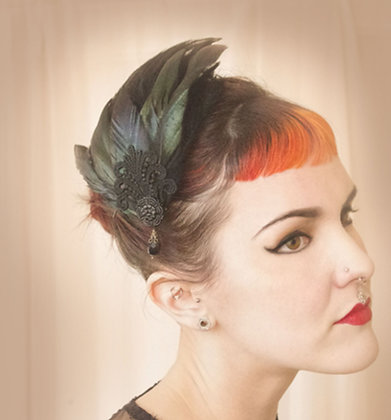Flapper lace antique coque tail hair fascinator