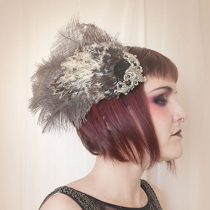 Opulent rooster hackle Pin Up Hair Fascinator with cage veil