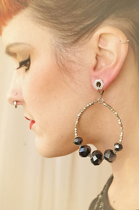 Vintage faceted gunmetal graduated bead and brass Hoop Earrings