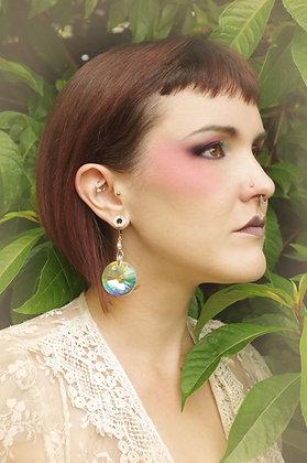 Iridescent Fairy Sun Disc Crystal Earrings