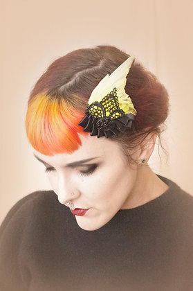 Black and yellow canary vintage lace Bird Wing Hair Fascinators