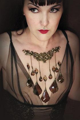 Elegant Brass floating crystal necklace