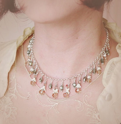 Pink Champagne Crystal and Bone Vertebrae Necklace