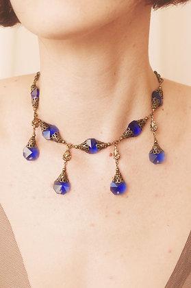 Cobalt Blue Crystal Dagger Necklace