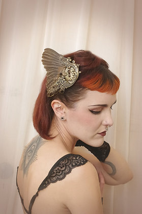 Antique Lock Brass Gilt Bird Wing Fascinator