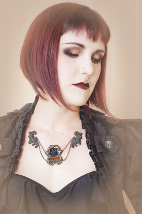 Twin Snake Cameo Iron Chain Floating Necklace