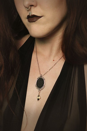 Cruelty-free Snake Cameo Necklace with Vertebrae Crystal Drop
