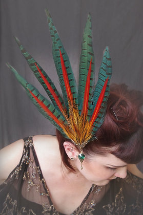 Pin-Up Green Rainbow Pheasant Hair Fascinator