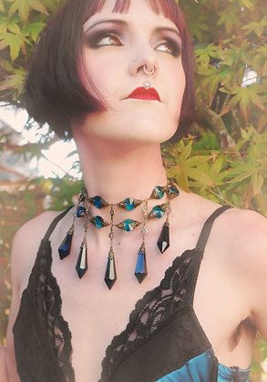 Prussian Blue Crystal Dagger Necklace