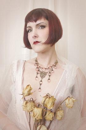 Vintage crystal bridal floating style necklace