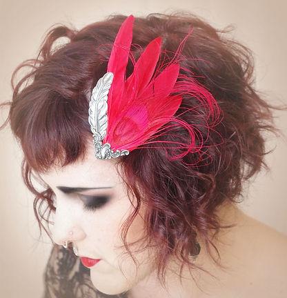 Red flapper 1920s art deco gatsby hair fascinator hat by Altar Ego Design