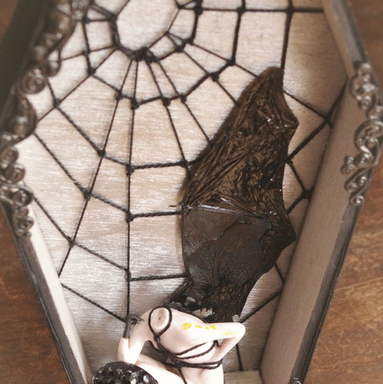 Bat Babe shibari rope coffin shadow box