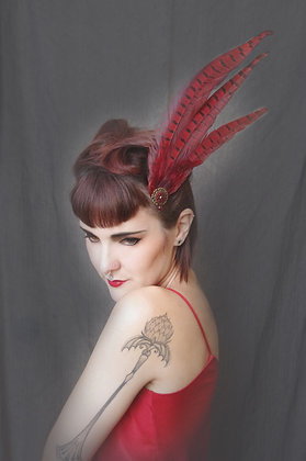 Pin-Up Crimson Red Pheasant Hair Fascinator