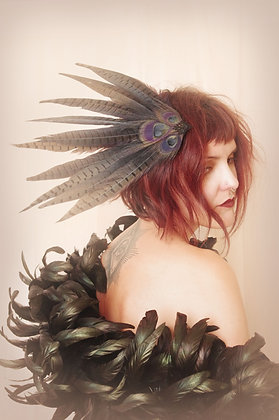 Dark Queen Pin-Up Pheasant Hair Fascinator