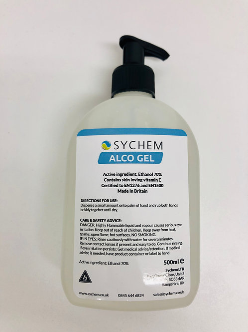 Alcohol Hand Gel, pump action lid - 500ml