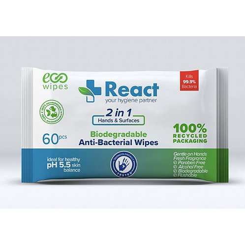 Anti bacterial wipes - 60pack