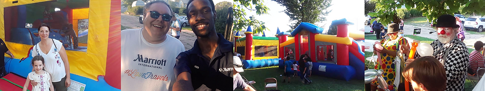 Marriott associates, kids, parents, clowns, bouncy houses: a great time was had by all at National Night Out!