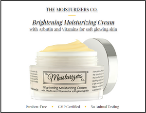 The Moisturizers Co.'s serum-infused Brightening Moisturizing Cream with Arbutin and Vitamins for soft glowing skin