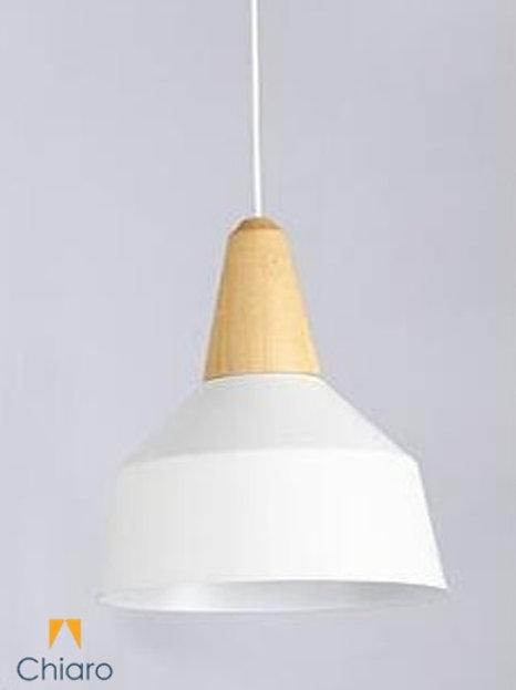 Lampara Campana Aluminio blanco Madera