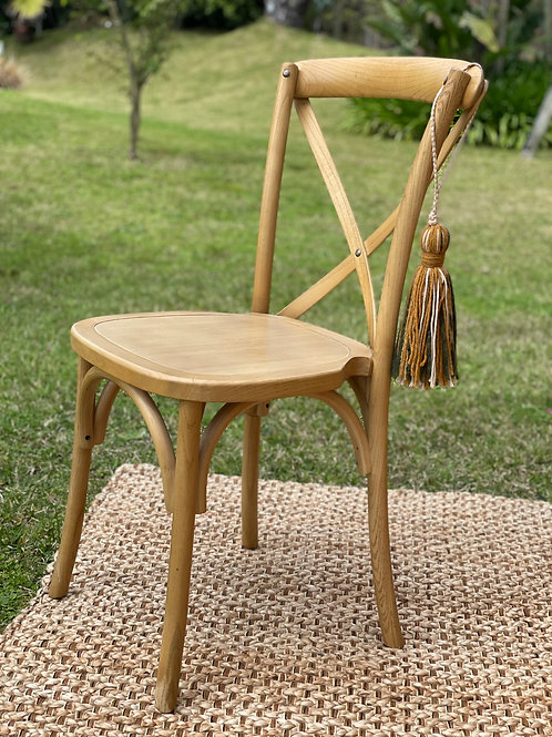 Silla cruz asiento madera