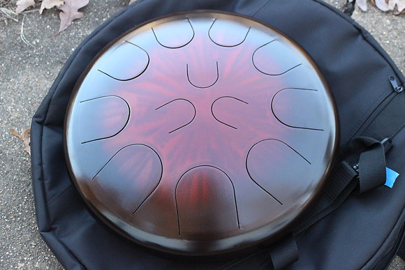 "Ajna 16"" 12 Tone Steel Tongue Drum Black Ruby Burst E Hijaz"