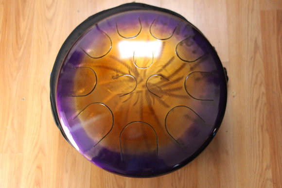 "Ajna 16"" 12 Tone Steel Tongue Drum Amethyst Gold Burst F Lydian"