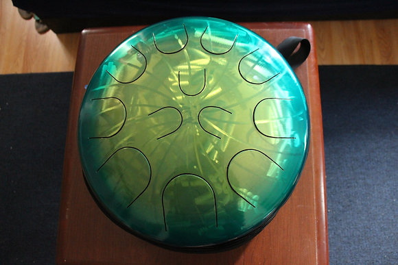 "Ajna 16"" 12 Tone Steel Tongue Drum Candy Teal Lemon Lime Burst  F Lydian"