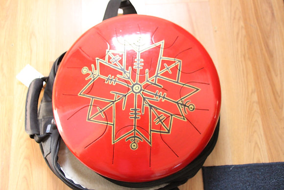 Ajna 12 Tone Tongue Drum - Red Viking Runes - E Harmonic Minor