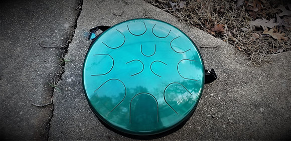 """Ajna 16"""" 12 Tone Steel Tongue Drum Candy Teal F Lydian"""