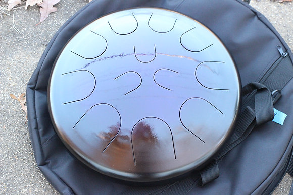 """Ajna 16"""" 12 Tone Steel Tongue Drum Candy Amethyst Burst F Lydian"""