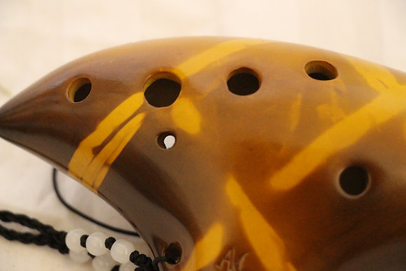 12 Hole Transverse Ceramic Ocarina Yello Strawfire