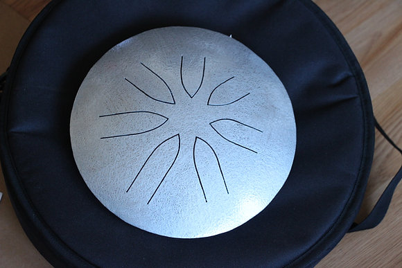 "10"" 7 Tone Ajna Tongue Drum Hammered Silver Pentat"